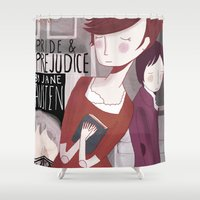pride and prejudice Shower Curtains featuring Pride and Prejudice by Nan Lawson