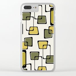 Skewed Squares Midcentury Pattern Chartreuse Clear iPhone Case