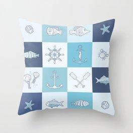 Adorkable Nautical Cartoons Throw Pillow