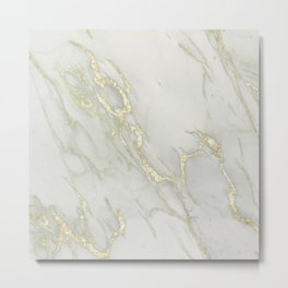 Marble Love Gold Metallic Metal Print