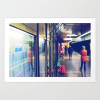 subway Art Prints featuring subway. by zenitt