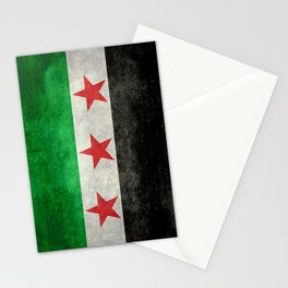 Independence flag of Syria, vintage retro style Stationery Cards