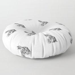 Black and white rabbit Floor Pillow