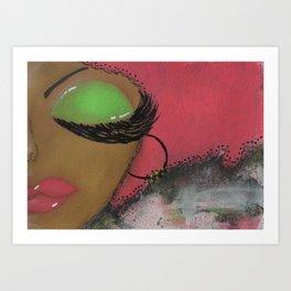 Pink and Green Sassy Girl Art Print