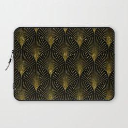 Back and gold art-deco geometric pattern Laptop Sleeve