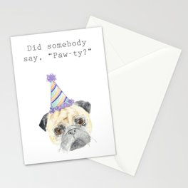 Paw-ty Pug Stationery Cards