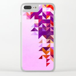 Colourful and Vibrant Geometric Nature on Ombre Pink Clear iPhone Case