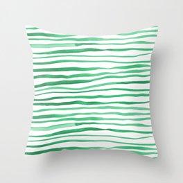 Irregular watercolor lines - green Throw Pillow
