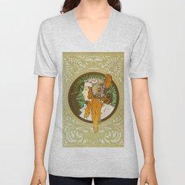 Alfons Maria Mucha - Byzantine Empire Tiara, Blonde - Digital Remastered Edition Unisex V-Neck