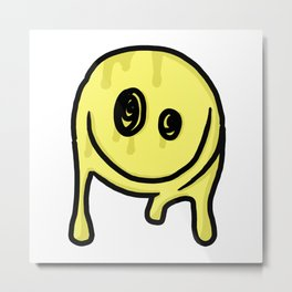 Stoned Smiley Metal Print