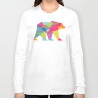 neon genesis evangelion Long Sleeve T-shirts featuring Fractal Bear - neon colorways by Picomodi