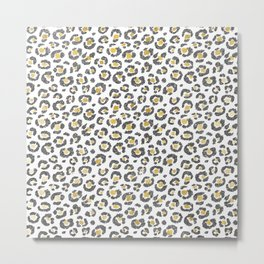 Glamorous Faux Sparkly Gold & Silver Leopard Metal Print
