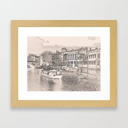 York in pencil and tint Framed Art Print