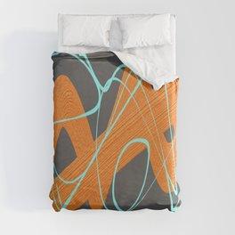 Grey orange and blue Duvet Cover