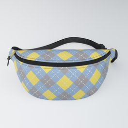 Yellow Blue Gray Argyle Pattern V4 Color of the Year 2021 Illuminating, Ultimate Gray, Placid Blue Fanny Pack