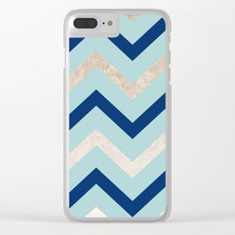 Marine zig zag - golden gradient turquoise Clear iPhone Case