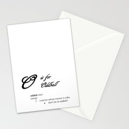 O is for Oddball, Minimalist Elegant Dictionary Style Insult Typography Stationery Cards