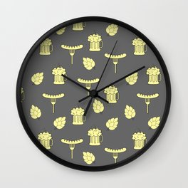 beer and sausages pattern Wall Clock