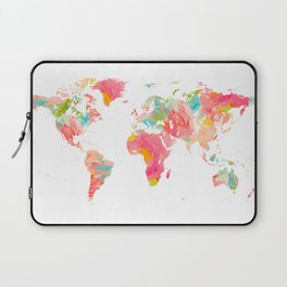 world map pink floral watercolor Laptop Sleeve