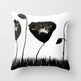 Black Poppies Throw Pillow