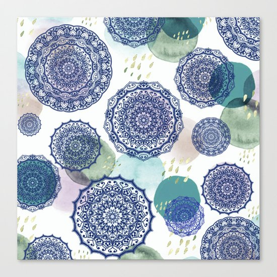 Fall Love Mandala in Blue Canvas Print