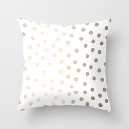 Simply Dots in White Gold Sands Throw Pillow