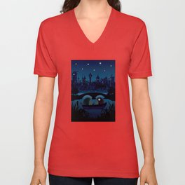 Hedgehogs in the night Unisex V-Neck