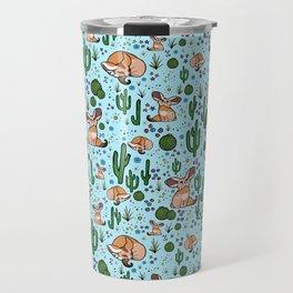 Cute Desert and Fennec Fox Pattern Travel Mug