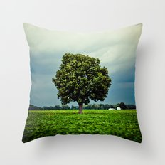 Tree in a Field Throw Pillow