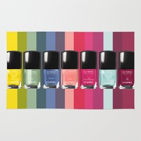 nail polish Area & Throw Rugs featuring C-H-A-N-E-L Designer Nail Polish Print by BeckiBoos