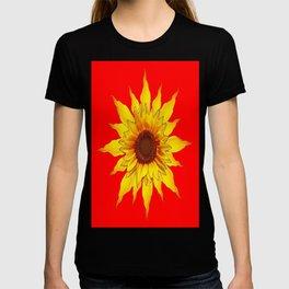 Decorative Yellow Sunflower On Chinese red Art T-shirt
