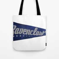 ravenclaw Tote Bags featuring Ravenclaw 1948 Vintage Pennant by Andy Pitts