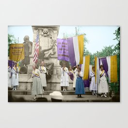 Lafayette, We Are Here! Suffragists protest across from the White House in 1918 Canvas Print