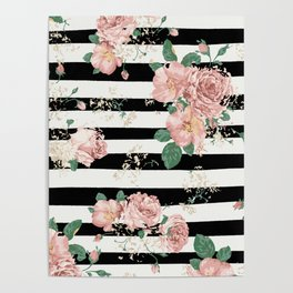VINTAGE FLORAL ROSES BLACK AND WHITE STRIPES Poster