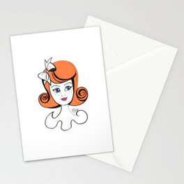 Cute Vintage Fashion Doll Sketch (Orange hair & pink lips)  Stationery Cards