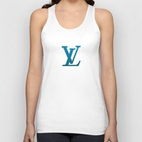 wallet Tank Tops featuring LV Blue Pattern by Veylow