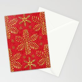 DP044-2 Gold snowflakes on red Stationery Cards