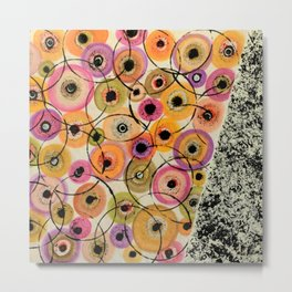 Circles and Flowers- Yellow Metal Print