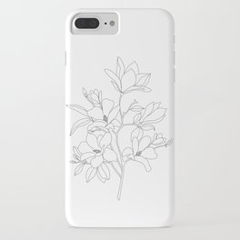 Minimal Line Art Magnolia Flowers iPhone Case
