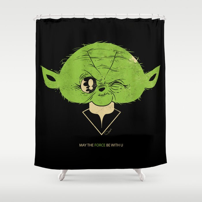 StarWars May the Force be with you (green vers.) Shower Curtain