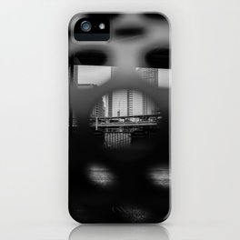 Abstract Baseball Field Through Grate Black and White iPhone Case