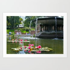 Central Park Flowers in Fountain Art Print