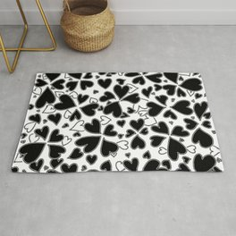 Abstract Black and White Heart Pattern Love Art by Megan Duncanson MADART Rug