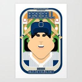 Baseball Blue Pinstripes - Deuce Crackerjack - Amy version Art Print