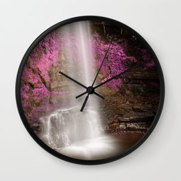 Pink Glencar Falls Wall Clock