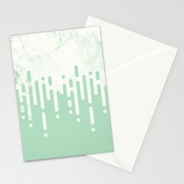 Marble and Geometric Diamond Drips, in Mint Stationery Cards