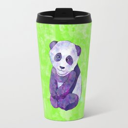 Cute  Purple Panda Bear  on green Travel Mug