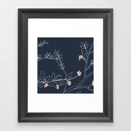 Flora, White and Pink on Navy Blue Framed Art Print