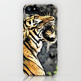 Tiger roar Woodblock Style iPhone Case