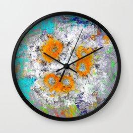 Abstract Floral Mixed Media Watercolor Ink Painting , orange & aqua Wall Clock